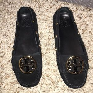 Tory Burch moccasins black suede leather size 8M